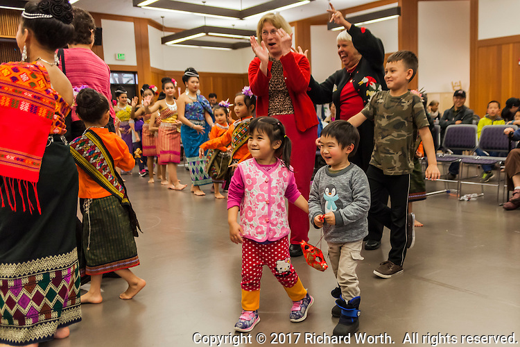 The Lunar New Year celebration ended with 'audience participation'.
