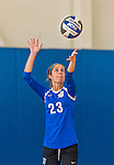 18 October 2015: Yeshiva University Maccabee Defensive Specialist and Outside Hitter Carol Jacobson, a Senior from Seattle, WA, serves during game action against the College of Mount Saint Vincent Dolphins at the Peter Sharp Center, in Riverdale, NY. The Dolphins defeated the Maccabees 3-0 in the NCAA Division III Women's Volleyball Skyline matchup. Mandatory Credit: Ed Wolfstein Photo *** RAW (NEF) Image File Available ***