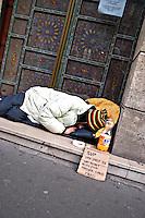Homeless person asking for help Paris..©shoutpictures.com.john@shoutpictures.com