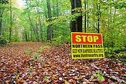 Stop Northern Pass Sign on hiking trail in the White Mountains, New Hampshire USA