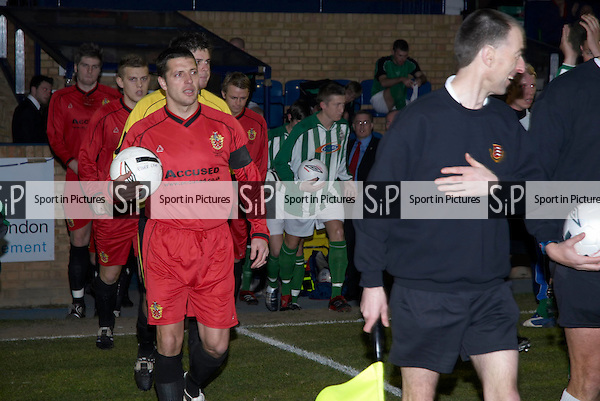 John Purdie leads out the AFC Hornchurch team. AFC Hornchurch Vs Great Wakering Rovers (27/03/2007) - Essex Senior Cup Final