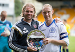St Johnstone v Hearts...03.08.14  Steven Anderson Testimonial<br /> Steven Anderson presents Hearts boss Robbie Neilson with a silver salver at full time<br /> Picture by Graeme Hart.<br /> Copyright Perthshire Picture Agency<br /> Tel: 01738 623350  Mobile: 07990 594431