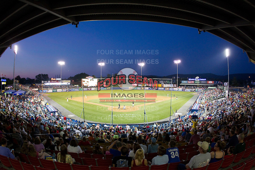 A crowd of 6,027 fans were on hand to watch the Eastern League game between the Akron Rubber Ducks and the Reading Fightin Phils at FirstEnergy Stadium on June 19, 2014 in Wappingers Falls, New York.  The Rubber Ducks defeated the Fightin Phils 3-2.  (Brian Westerholt/Four Seam Images)