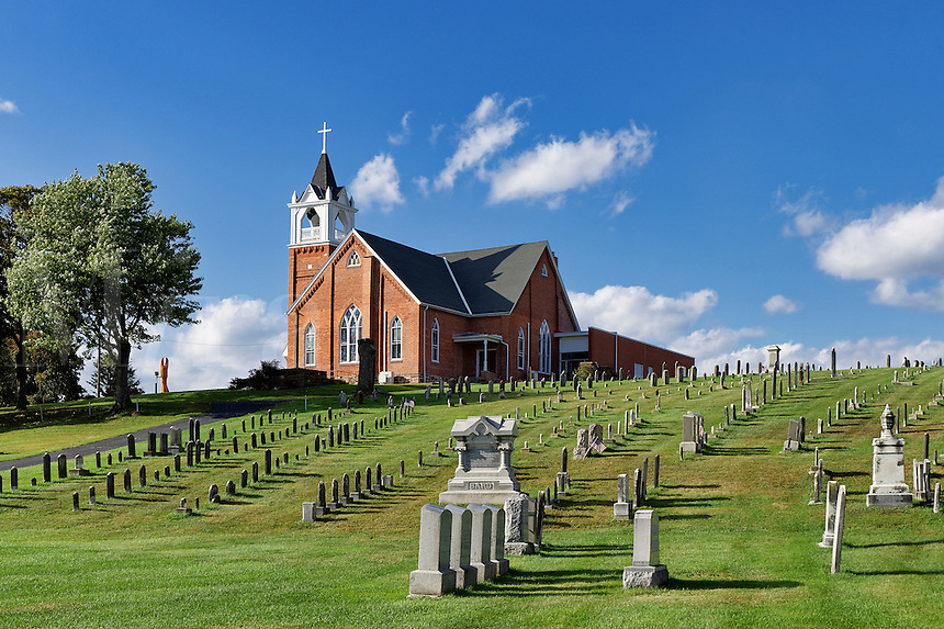 Cemetery and Bergstrasse Evangelical  Lutheran Church, Ephrata, Pennsylvania, USA