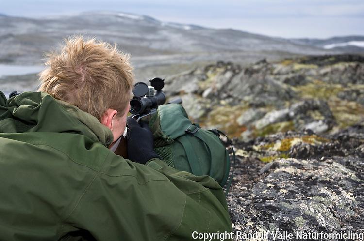 Rypejeger med salongrifle har anlegg mot ryggsekk ---- Hunter with cal. 22 rifle