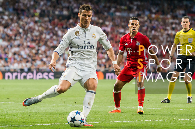 Cristiano Ronaldo of Real Madrid in action during their 2016-17 UEFA Champions League Quarter-finals second leg match between Real Madrid and FC Bayern Munich at the Estadio Santiago Bernabeu on 18 April 2017 in Madrid, Spain. Photo by Diego Gonzalez Souto / Power Sport Images