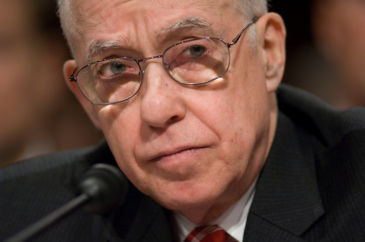 WASHINGTON, DC - Jan. 30: Attorney General Michael B. Mukasey testifies during his first appearance before the Senate Judiciary Committee since becoming head of the Justice Department. Mukasey said it wasn't an easy question to determine the legality of waterboarding under U.S. law. Waterboarding is a simulated drowning interrogation method. (Photo by Scott J. Ferrell/Congressional Quarterly)
