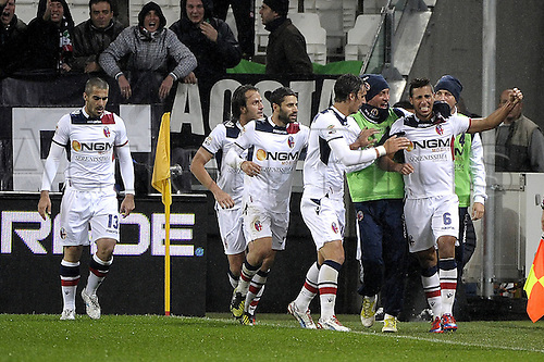 31.10.2012 Turin, Italy. Bologna celebrate the goal from Saphir Sliti Taider during the Serie A game between Juventus and Bologna from the Juventus Stadium.