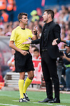 Coach Diego Simeone of Atletico Madrid gestures while talking to the referee during their La Liga match between Atletico Madrid and Deportivo de la Coruna at the Vicente Calderon Stadium on 25 September 2016 in Madrid, Spain. Photo by Diego Gonzalez Souto / Power Sport Images