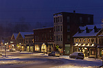 Downtown Camden on a snowy evening.