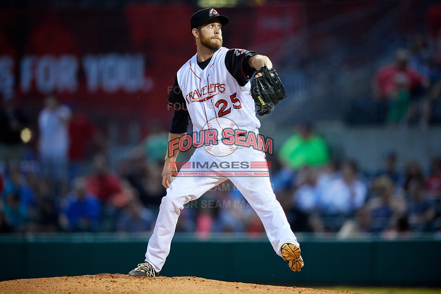 Arkansas Travelers relief pitcher Lindsey Caughel (25) delivers a pitch during a game against the Frisco RoughRiders on May 26, 2017 at Dickey-Stephens Park in Little Rock, Arkansas.  Arkansas defeated Frisco 4-2.  (Mike Janes/Four Seam Images)