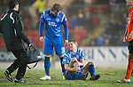 St Johnstone v Dundee United....22.02.11 .Jamie Adams gets injured.Picture by Graeme Hart..Copyright Perthshire Picture Agency.Tel: 01738 623350  Mobile: 07990 594431