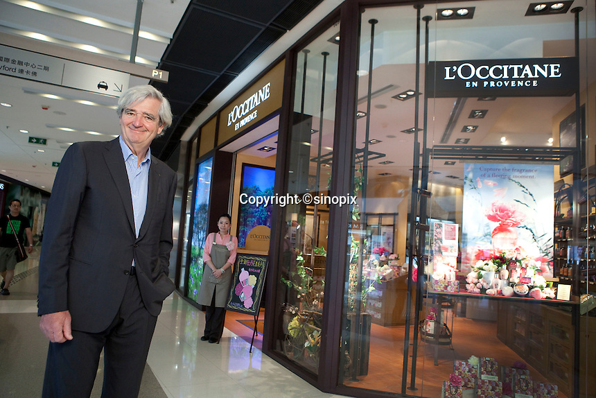 Portrait of Reinold Geiger at the L'occitane shop in IFC Mall, Hong Kong.