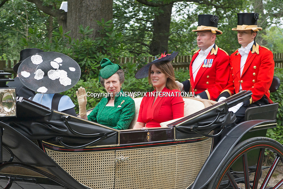 22.06.2017; Ascot, UK: PRINCESSES EUGENIE AND ANNE<br /> looking cheerful as they ride in the royal procession to Ascot Racecourse.<br /> Mandatory Credit Photo: &copy;Dias/NEWSPIX INTERNATIONAL<br /> <br /> IMMEDIATE CONFIRMATION OF USAGE REQUIRED:<br /> Newspix International, 31 Chinnery Hill, Bishop's Stortford, ENGLAND CM23 3PS<br /> Tel:+441279 324672  ; Fax: +441279656877<br /> Mobile:  07775681153<br /> e-mail: info@newspixinternational.co.uk<br /> Usage Implies Acceptance of OUr Terms &amp; Conditions<br /> Please refer to usage terms. All Fees Payable To Newspix International