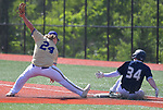 Marquette's Aidan Rudman (right) is safe at first base as CBC's Patrick Westall made a mighty stretch trying to get the out. Marquette defeated CBC in the Class 5 baseball sectional played at Vianney High Schoo lin St. Louis, MO on Wednesday May 22, 2019.<br /> Tim Vizer/Special to STLhighschoolsports.com