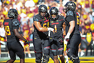 College Park, MD - October 15, 2016: Maryland Terrapins wide receiver D.J. Moore (1) celebrates with his teammates after scoring a touchdown during game between Minnesota and Maryland at  Capital One Field at Maryland Stadium in College Park, MD.  (Photo by Elliott Brown/Media Images International)