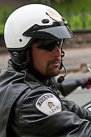 Ville de Levis Police motorcycle is seen during a police memorial parade in Ottawa Sunday September 26, 2010.