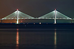 The Arthur Ravenel Jr Bridge over the Cooper River in Charleston South Carolina at night