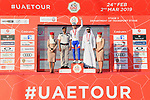 David Gaudu (FRA) Groupama-FDJ takes over the young riders White Jersey at the end of Stage 3 of the 2019 UAE Tour, running 179km form Al Ain to Jebel Hafeet, Abu Dhabi, United Arab Emirates. 26th February 2019.<br /> Picture: LaPresse/Massimo Paolone | Cyclefile<br /> <br /> <br /> All photos usage must carry mandatory copyright credit (© Cyclefile | LaPresse/Massimo Paolone)