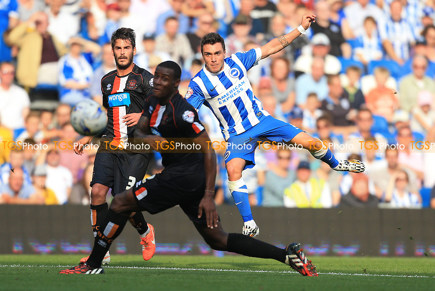 Adrian Colunga of Brighton & Hove Albion with a shot on goal - Brighton & Hove Albion vs Blackpool - Sky Bet Championship Football at the American Express Community Stadium, Falmer, Brighton - 20/09/14 - MANDATORY CREDIT: Simon Roe/TGSPHOTO - Self billing applies where appropriate - contact@tgsphoto.co.uk - NO UNPAID USE