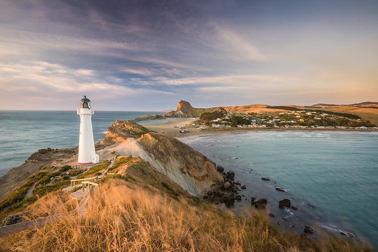 New Zealand landscape image - sunrise at Castlepoint lighthouse, Wairarapa,  photo, canvas, fine art print