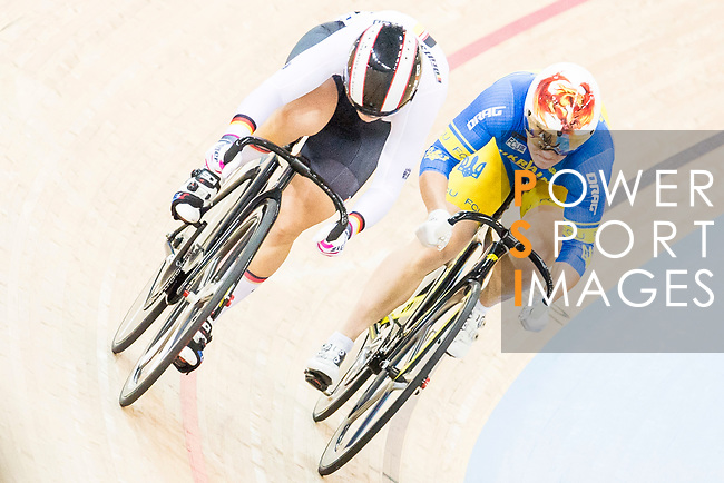 Kristina Vogel of the Germany team and Liubov Basova of the Ukraine team compete in the Women's Sprint - Quarterfinals as part of the 2017 UCI Track Cycling World Championships on 13 April 2017, in Hong Kong Velodrome, Hong Kong, China. Photo by Chris Wong / Power Sport Images