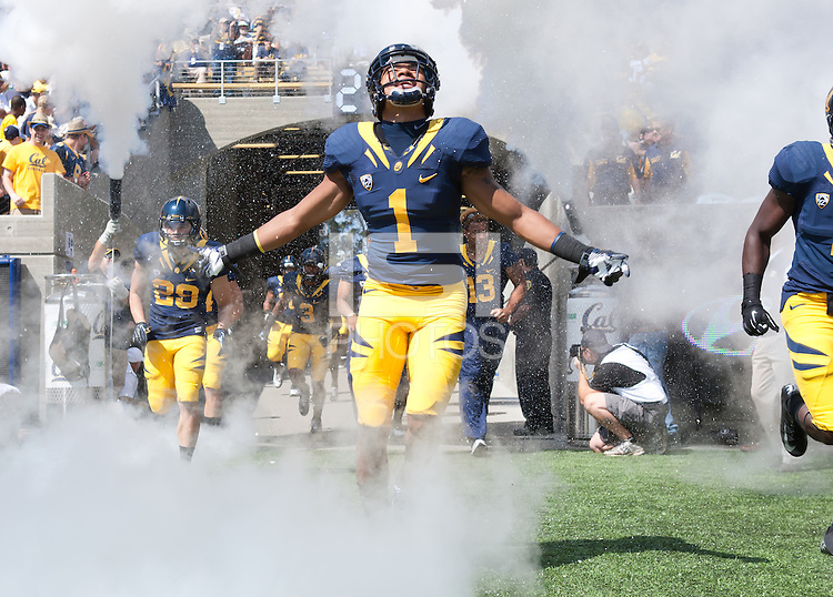 September 29, 2012: California's Steve Williams runs out of the tunnel before the start the game against Arizona State at Memorial Stadium, Berkeley, Ca  Arizona State defeated Cal 27 - 17