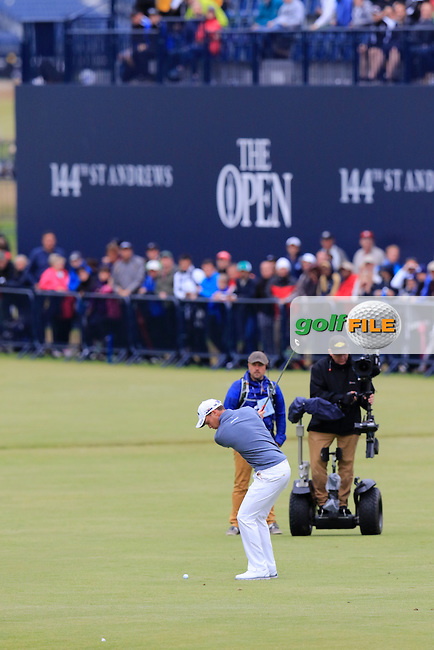Danny WILLETT (ENG) plays his 2nd shot on the 18th hole during Sunday's Round 3 of the 144th Open Championship, St Andrews Old Course, St Andrews, Fife, Scotland. 19/07/2015.<br /> Picture Eoin Clarke, www.golffile.ie
