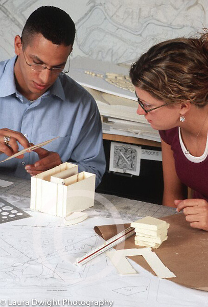 Internship program for college students at major architectural firm, model building
