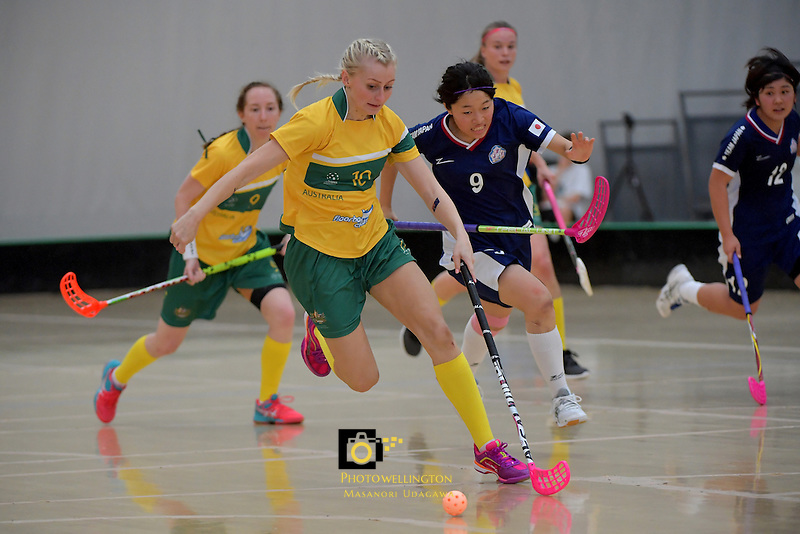 Japan's Eriko Chiba and Australia's Blaise Hodges in action during the World Floorball Championships 2017 Qualification for Asia Oceania Region Final - Australia v Japan at ASB Sports Centre , Wellington, New Zealand on Sunday 5 February 2017.<br /> Photo by Masanori Udagawa<br /> www.photowellington.photoshelter.com.