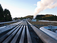 Wairakei geothermal power station-natural energy produced by high pressure underground steam-located 10 km from Taupo-New Zealand