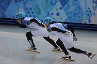 OLYMPICS: SOCHI: Iceberg Skating Palace, 15-02-2014, Short Track, Men's 1000m, Finals, Victor An (#250 | RUS), Vladimir Grigorev (#252 | RUS), ©photo Martin de Jong