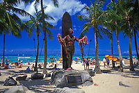 Statue of Hawaiian surfing legend Duke Kahanamoku on Waikiki Beach.