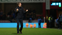 Brentford Head Coach, Thomas Frank celebrates their 1-0 victory at the final whistle during Brentford vs Reading, Sky Bet EFL Championship Football at Griffin Park on 23rd November 2019