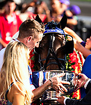 East Rutherford, N.J.-August 4th, 2018: Atlanta, a filly, wins the 2018 $1,000,000 Hambletonian for three year olds at the Meadowlands in East Rutherford, N.J.  Atlanta was driven by the Canadian Scott Zeron and trained by his father Rick.  [Dan Heary/eclipesportswire/Getty Images].