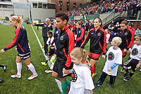 Portland, OR - Saturday, May 21, 2016: Portland Thorns FC goalkeeper Adrianna Franch (24) leads the Thorns onto the field. The Portland Thorns FC defeated the Washington Spirit 4-1 during a regular season National Women's Soccer League (NWSL) match at Providence Park.