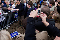Members of the public greet former Massachusetts governor Mitt Romney after a Mitt Romney town hall meeting and rally at the Rochester Opera House in Rochester, New Hampshire, on Jan. 8, 2012. Romney is seeking the 2012 Republican presidential nomination.