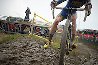 Michael Vanthourenhout (BEL) skidding in the mud<br /> <br /> 2014 Noordzeecross