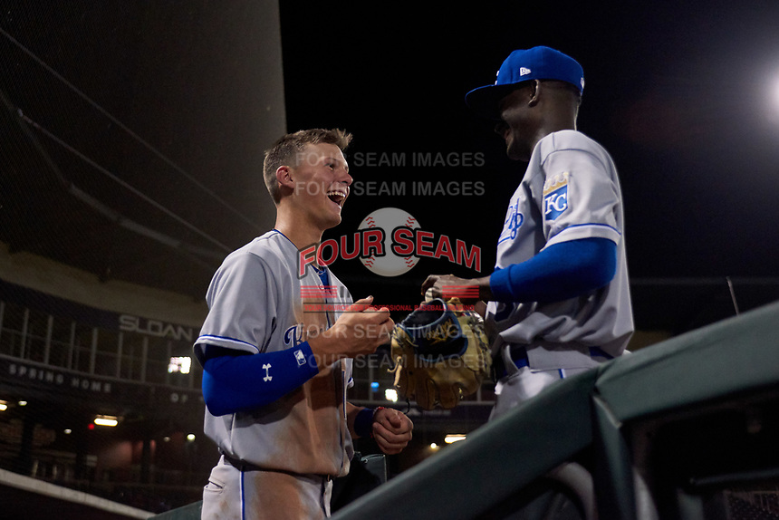 AZL Royals Bobby Witt, Jr. (17) and Diego Hernandez (6) between innings of an Arizona League game against the AZL Cubs 1 on June 30, 2019 at Sloan Park in Mesa, Arizona. AZL Royals defeated the AZL Cubs 1 9-5. (Zachary Lucy / Four Seam Images)