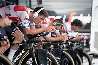 Team Trek-Segafredo warming up for the TTT<br /> <br /> Stage 2 (TTT): Brussels to Brussels (BEL/28km) <br /> 106th Tour de France 2019 (2.UWT)<br /> <br /> ©kramon