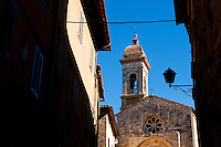 View of the Collegiate (Church) of San Quirico and Giulitta, in Val D' Orcia, World Heritage listed site, Tuscany, Italy