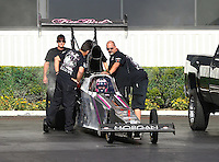 Feb 6, 2015; Pomona, CA, USA; Crew members prepare the car of NHRA top alcohol dragster driver Ashley Sanford during qualifying for the Winternationals at Auto Club Raceway at Pomona. Mandatory Credit: Mark J. Rebilas-