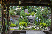 Stone garden wall with fountain framed through pergola in California garden