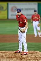 State College Spikes relief pitcher Michael Baird (40) looks in for the sign during a game against the West Virginia Black Bears on August 30, 2018 at Medlar Field at Lubrano Park in State College, Pennsylvania.  West Virginia defeated State College 5-3.  (Mike Janes/Four Seam Images)