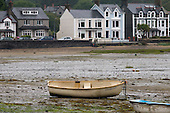 Dinghy in the harbour at Borth-y-Gest, Porthmadog, North Wales