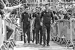 Philippe Gilbert (BEL) and the Quick-Step Floors team head to the stage outside Le Palais des Princes-&Eacute;v&ecirc;ques at the team presentation before the 104th edition of La Doyenne, Liege-Bastogne-Liege 2018, Belgium. 21st April 2018.<br /> Picture: ASO/Karen Edwards | Cyclefile<br /> <br /> <br /> All photos usage must carry mandatory copyright credit (&copy; Cyclefile | ASO/Karen Edwards)