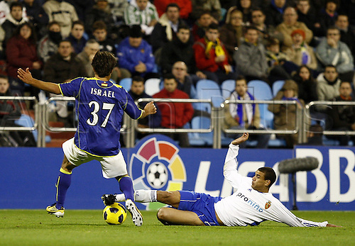 10.11.2010, La Romareda Stadium. La Liga Copa Del Rey. Real Zaragoza versus Real Betis. Zaragoza 0 - 1 Betis Diogo is tackled hard by Israel