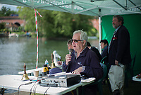 Maidenhead. Berkshire. United Kingdom. <br /> <br /> Self Styled,  &quot;Voice of the Rowing&quot; Robert TREHERNE JONES, commentating at the 2017 Maidenhead Junior Regatta  River Thames. <br /> <br /> [&copy;Peter SPURRIER/Intersport Images] Sunday. 14.05.2017