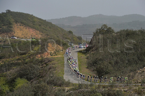 21.02.2016. Almodovor, Algarve, Portugal.  illustration of the peloton riding through the landscapes of the Algarve during stage 5 of the 42nd Tour of Algarve cycling race with start in Almodovar and finish in Malhao (Loule) on February 21, 2016 in Malhao, Portugal.