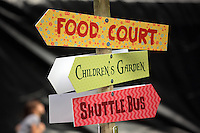 Pictured: The signs on the festival venue Saturday 13 August 2016<br /> Re: Grow Wild event at  Furnace to Flowers site in Ebbw Vale, Wales, UK